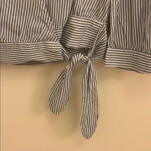 Madewell Tops - Madewell Indigo Striped Wrap Blouse